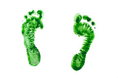 Groene die drukken van de voeten van kinderen op witte achtergrond worden geïsoleerd Stock Fotografie