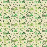 Groene die ecoachtergrond van kleine ecologie groene huizen en boom wordt gemaakt Royalty-vrije Stock Afbeeldingen