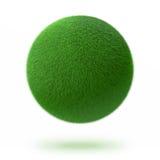 Groene die gebied of bal met gras wordt behandeld Stock Fotografie