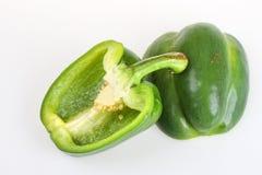 Gesneden groene paprika Royalty-vrije Stock Afbeeldingen