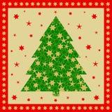 Groene die Kerstboom met gouden sterren op goud wordt gevuld Stock Foto's