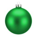 Groene die Kerstmisbal op wit wordt geïsoleerd Royalty-vrije Stock Afbeelding
