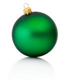Groene die Kerstmisbal op Witte Achtergrond wordt geïsoleerd royalty-vrije stock foto