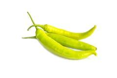 Groene die Spaanse pepers op witte achtergrond worden geïsoleerd Stock Afbeeldingen