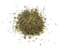 Groene die thee met blad op witte achtergrond wordt geïsoleerd Stock Foto's