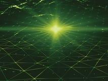 Groene Digitale ruimte 3D illustratie lage poly Stock Afbeeldingen