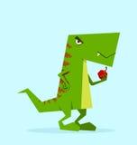 Groene Dino in actie Royalty-vrije Stock Afbeeldingen