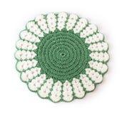 Groene doily op wit royalty-vrije stock afbeelding