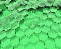 Groene Doorzichtige Zeshoeken Stock Afbeelding
