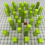 Groene dozen en rode kuil Vector Illustratie
