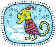 Groene draak in de winter Royalty-vrije Stock Afbeelding
