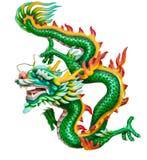 Groene draak die op wit wordt geïsoleerd? Royalty-vrije Stock Afbeelding