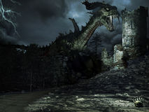 Groene draak en toren Royalty-vrije Stock Afbeeldingen