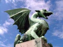 Groene draak in Ljubljana Slovenië Royalty-vrije Stock Foto's