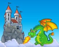 Groene draak met kasteel op heuvel stock illustratie