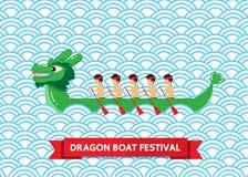 Groene draakboot op blauw abstract vectorontwerp als achtergrond Royalty-vrije Illustratie