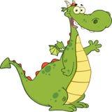 Groene Dragon Cartoon Character Waving For-Groet Royalty-vrije Stock Afbeelding
