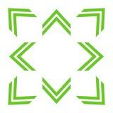 Groene dubbele pijlen in de verschillende richtingen van 8/eight stock illustratie