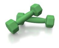 Groene dumbells of gewichten voor gezonde levensstijl Royalty-vrije Stock Afbeeldingen