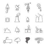 Groene duurzame energie, eco, de creatieve geplaatste pictogrammen van de ontwerplijn Stock Afbeelding