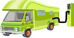 groene Eco-auto, de ecologische vectorillustratie van het themaconcept, royalty-vrije illustratie