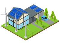Groene Eco-Huis Isometrische Mening Vector Stock Foto's