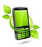 Groene eco mobiele telefoon Stock Foto