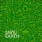 Groene eco naadloze die achtergrond van kleine ecologiepictogrammen wordt gemaakt Royalty-vrije Stock Afbeelding