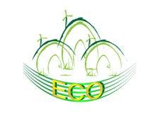 Groene eco van het lijn groene huis Stock Foto's