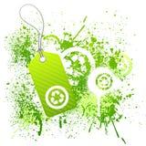 Groene ecomarkering grunge Stock Afbeelding