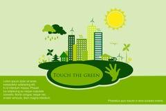 Groene ecostad - abstracte ecologiestad Stock Afbeelding