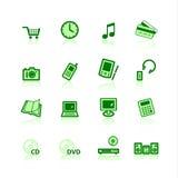 Groene elektronische handelpictogrammen Stock Afbeelding