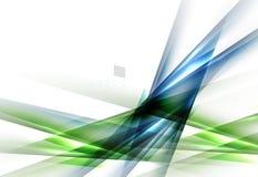 Groene en blauwe abstracte die lijnen op wit worden geïsoleerd Stock Afbeelding