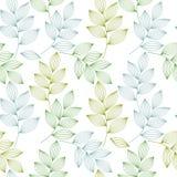 Groene en blauwe elegante bladeren met aders naadloos patroon, vector royalty-vrije illustratie