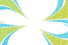 groene en blauwe golven op hoeken, abstracte achtergrond Stock Fotografie