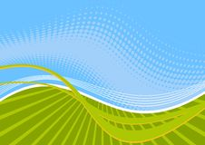 Groene en blauwe golvende lijnen Stock Afbeelding