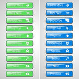 Groene en blauwe knopen voor website of app Knoop - koop nu, omhoog intekenen, ondertekenen, registreren, downloaden, uploaden, z Royalty-vrije Stock Afbeeldingen