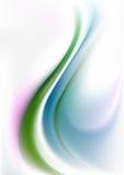 Groene en blauwe krommengolven op de witte achtergrond van het gradiëntnetwerk Stock Foto