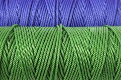 Groene en blauwe polyesterkabel - sluit omhoog Royalty-vrije Stock Afbeeldingen