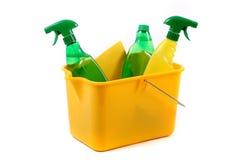 Groene en chemische schoonmakende producten Stock Foto