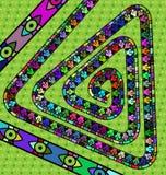 Groene en gekleurde driehoeksspiraal Stock Foto's