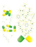 Groene en gele pillen Royalty-vrije Stock Fotografie