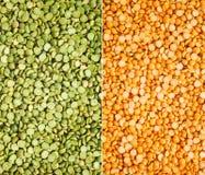 Groene en gele spliterwten stock afbeeldingen