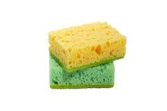 Groene en gele sponsen Stock Afbeeldingen