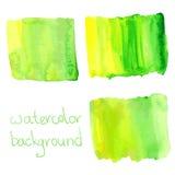 Groene en gele waterverfachtergrond Stock Afbeeldingen