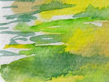 Groene en Gele Waterverven Royalty-vrije Stock Foto