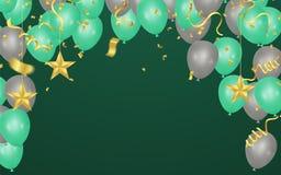 Groene en grijze ballonsillustratie Confettien en lintenvlag royalty-vrije illustratie
