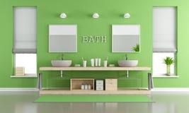 Groene en grijze eigentijdse badkamers met wasbakken Stock Afbeelding