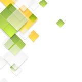 Groene en oranje glanzende vierkantenachtergrond Stock Fotografie