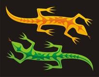 Groene en oranje hagedissen Royalty-vrije Stock Afbeelding
